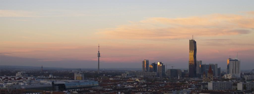Skyline mit Donauturm und DC Tower, dem höchsten Gebäude von Wien