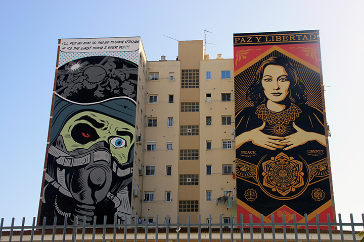 "D*Face (links) und Shepard Fairey (""OBEY"", rechts) toben sich auch an den riesigen Häuserfassaden in Soho aus."