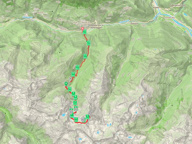 Unsere Route zum Hochegg über den Geigensee und retour über die Zwenewaldalm