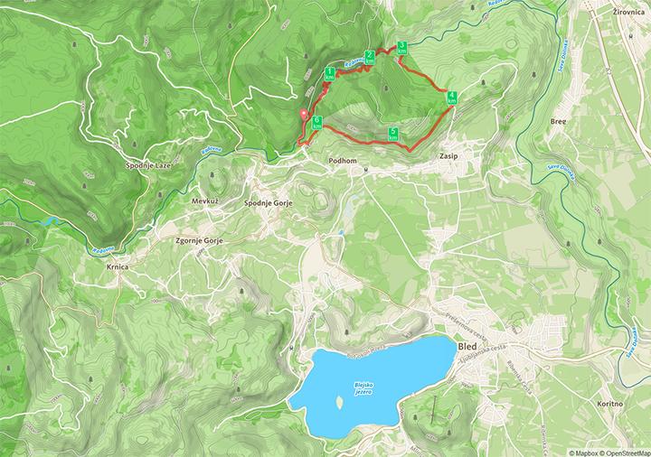 Unsere Route durch die Vintgar-Schlucht als Rundwanderung nördlich von Bled