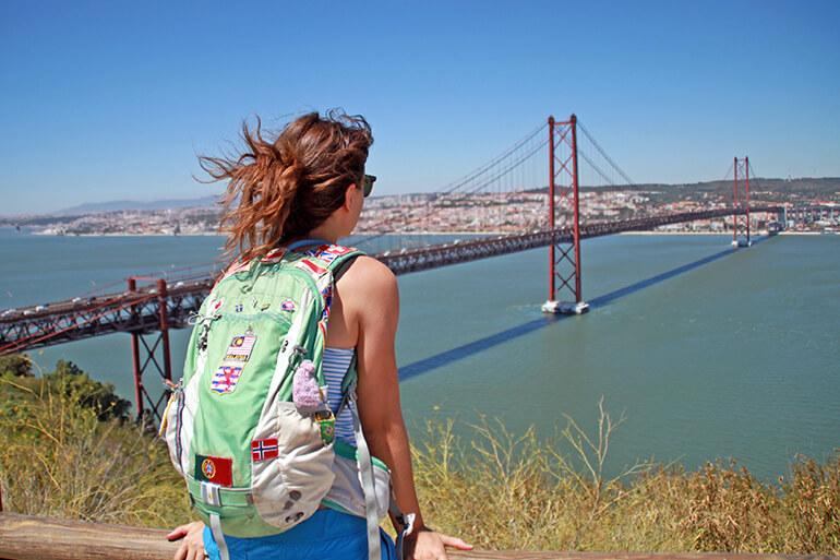 Blick auf die Brücke des 25. April und (fast) ganz Lissabon.