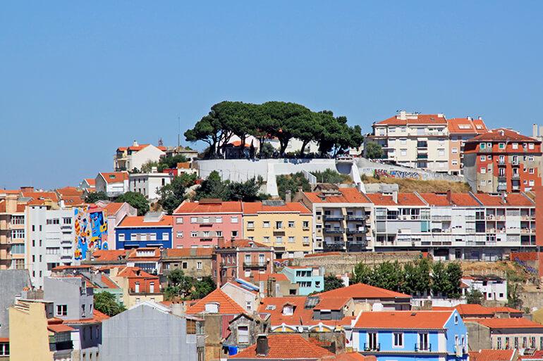 Miradouro da Senhora do Monte vom gegenüberliegenden Aussichtspunkt São Pedro de Alcântara
