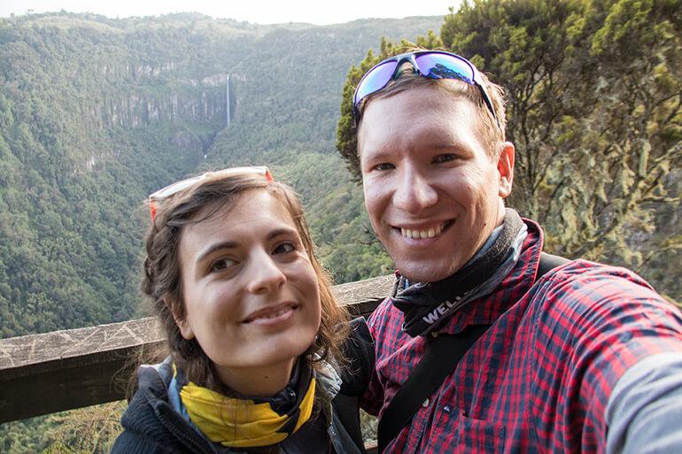 Wasserfall-Selfie im Aberdare Nationalpark