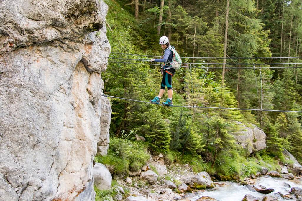 Silberkarklamm Seilbrücke am Hias-Klettersteig