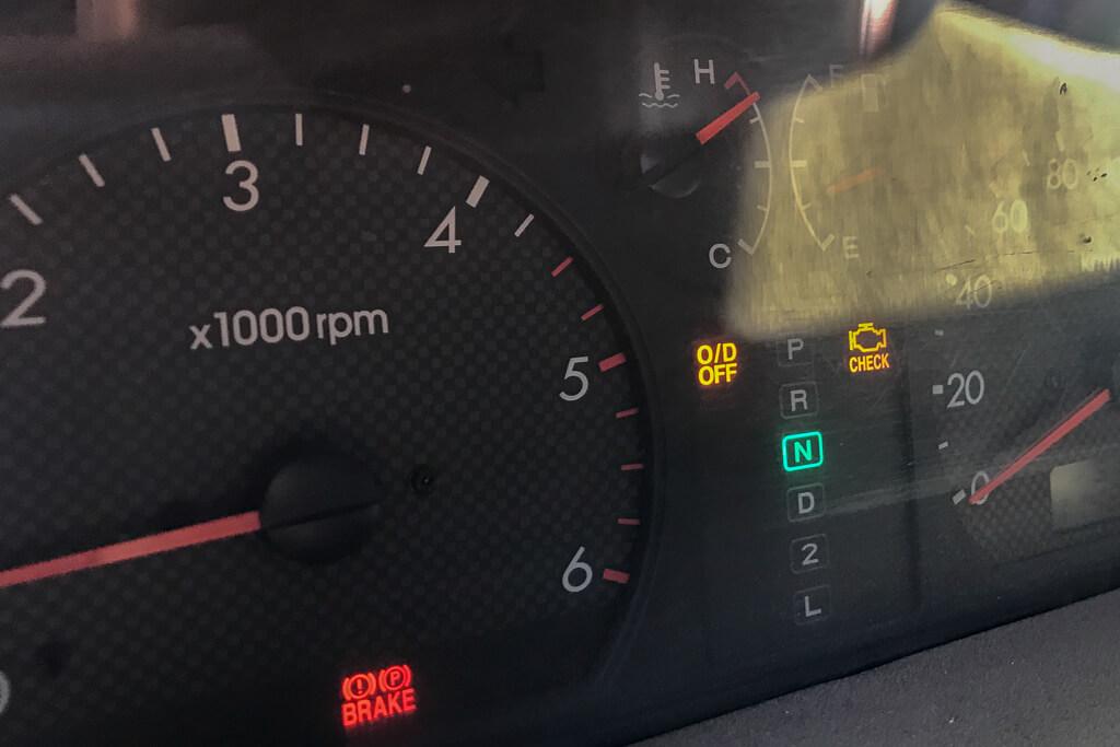 Tachoanzeige unseres überhitzten Motors