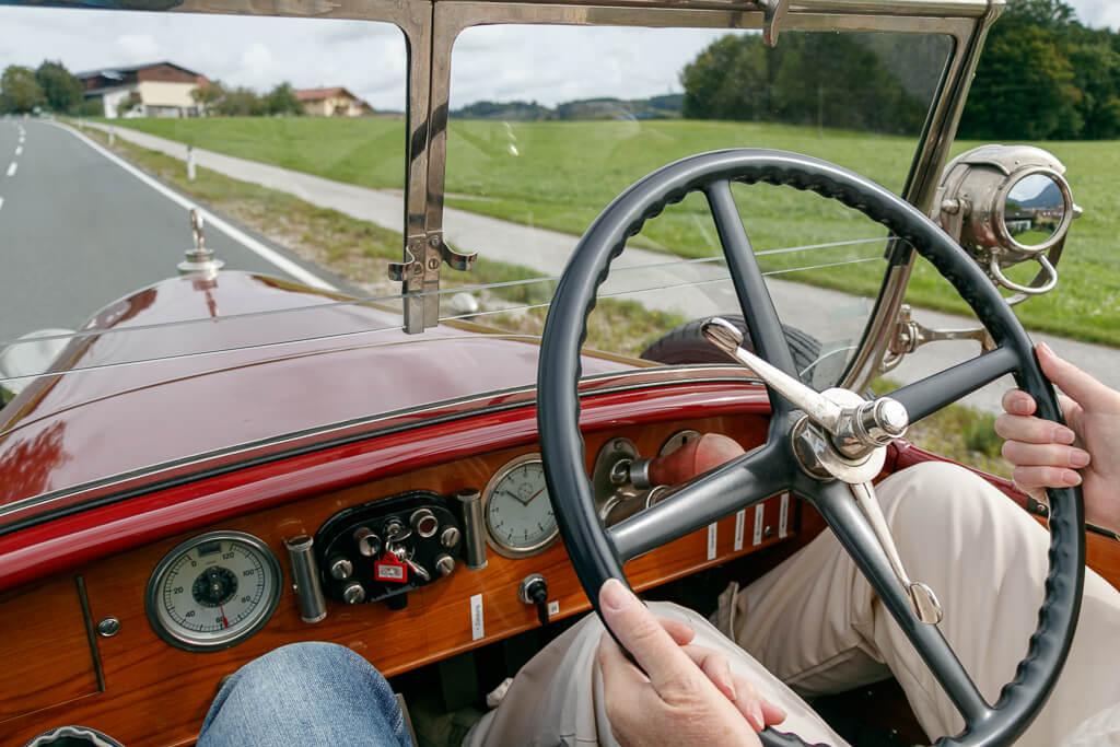 Lenkrad im Austro Daimler Cabrio AD617