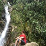 Flo am Chorros de las Campanas Wasserfall