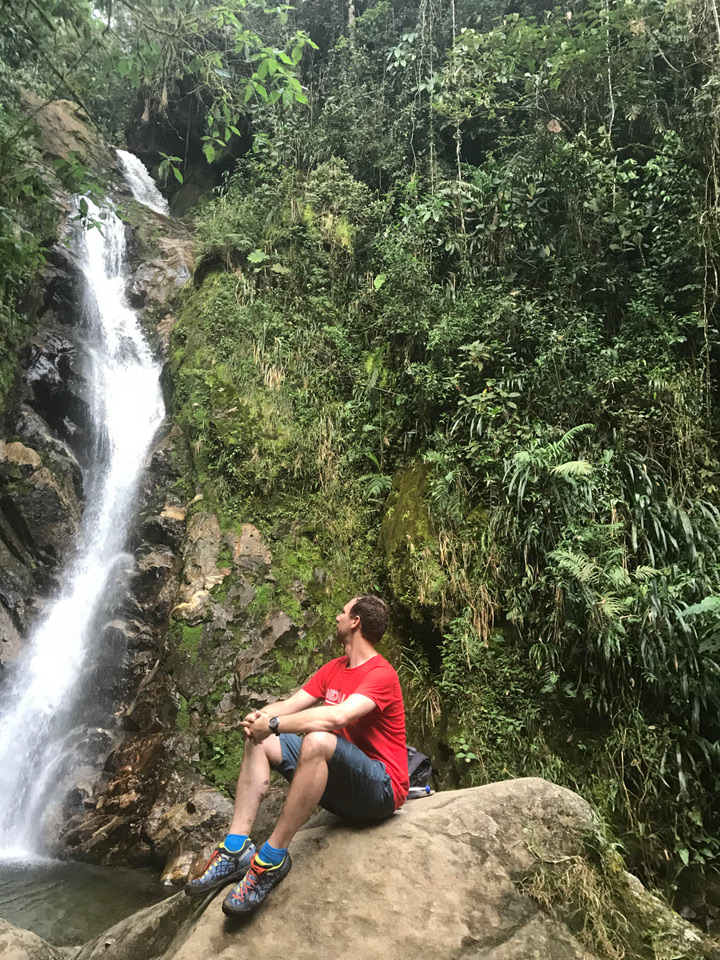 Flo am Chorro de las Campanas Wasserfall