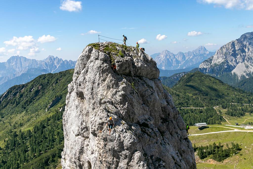 Däumling-Felsturm samt Klettersteig am Nassfeld in Kärnten